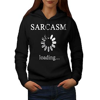 Sarcasm Loading Women BlackHoodie | Wellcoda