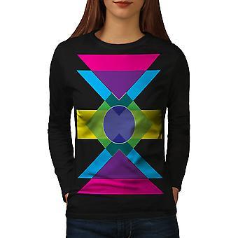 Reticolo geometrico donne BlackLong manica | Wellcoda