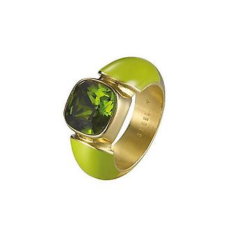 Joop women's ring stainless steel gold green cubic zirconia JPRG10594D