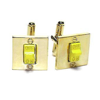 Gold-Tone Men's Cuff Links ON / OFF SWITCH Shaped Cufflinks