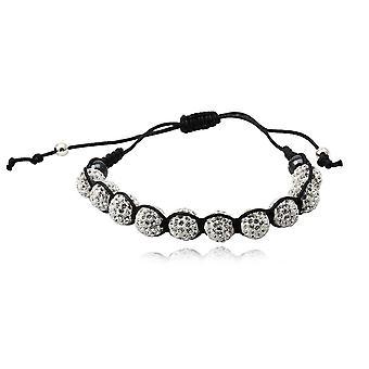 Armband-Shamballa 10 Perlen in weiß Kristall und Silber 925