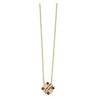 Elements Gold Ruby Woven Pendant - Red/Gold