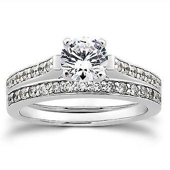 1 / 2ct Diamond Engagement bruiloft 14K bijpassende Ring Set