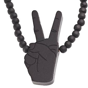 Wood Style Bead Kette - PARTY ROCK schwarz