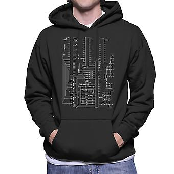 Atari 2600 Computer Schematic Men's Hooded Sweatshirt
