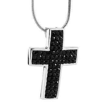Burgmeister chain and pendant JBM1119-426, 925 sterling silver rhodanized, cross pendant black Swarovski crystal