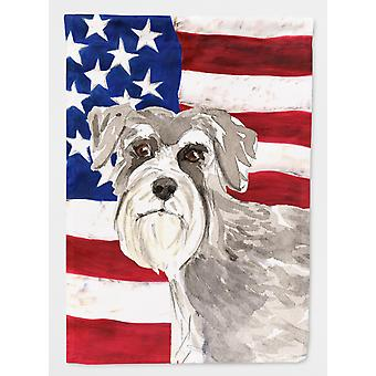 Carolines Treasures  CK1718CHF Patriotic USA Schnauzer #1 Flag Canvas House Size
