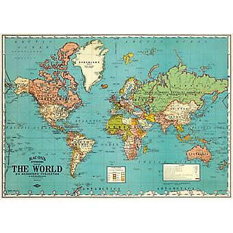 Cavallini World Map 4 Wrapping Paper / Poster High Quality