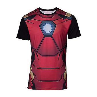 Marvel Comics Iron Man Mens Suit Sublimation T-Shirt Extra Large Multicolour
