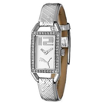 PUMA pulseira do relógio relógio senhoras branco cristal brilhante prata PU101662001