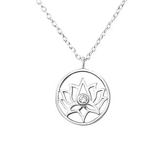 Lotus - 925 Sterling Silver Jewelled Necklaces - W36221x