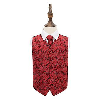 Black & Red Paisley Wedding Waistcoat & Cravat Set for Boys