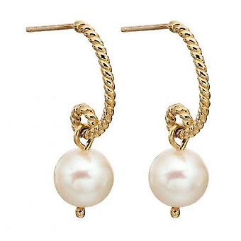 Elements Gold Pearl Cast Rope Earrings - Gold/White