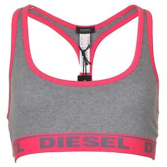 DIESEL Women Miley Cotton Bralette, Grey/Pink, Large