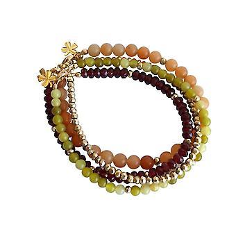 Gemshine Damen Armband Set Golden Jade Granat  Rot Grün Vergoldet