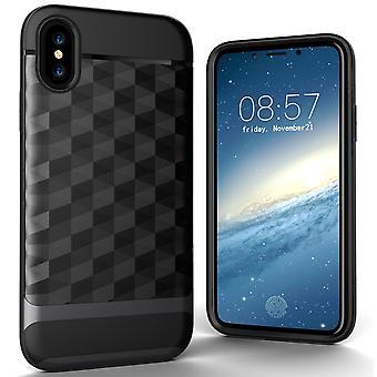 IPhone X / 10 dos cas téléphone portable Etui Housse Apple - cover 3D Prism design gris