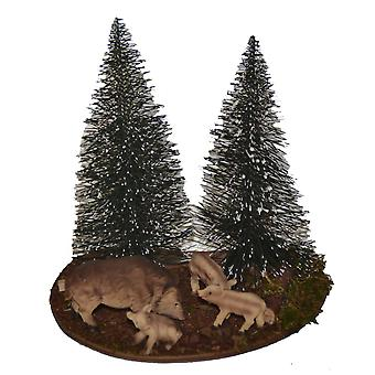 Nativity accessories Christmas Nativity stable feeding place with wild boar and FIR