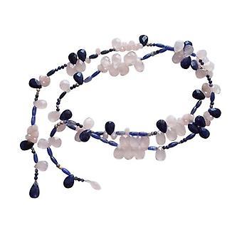 Lapis lazuli halskæde og rosenkvarts halskæde Collier solskin sølv