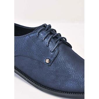 Metallic Lace Up Brogue Shoes Blue