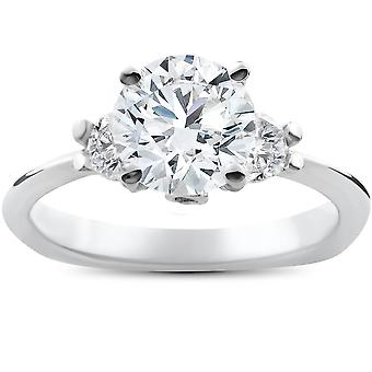 1 3/8ct 3 Stone Diamond Solitaire Engagement Ring 14K White Gold Enhanced