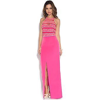 Paper Dolls Pink Stripe Lace Halter Maxi Dress