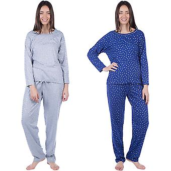 Masq para mujer manga larga algodón Homewear ropa de dormir arriba y abajo pijama conjunto