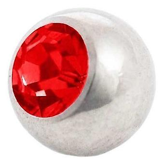 Piercing Replacement Ball, Red Stone | 1,2 x 3 and 4 mm, Body Jewellery