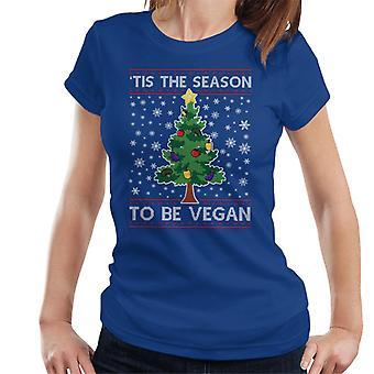 Tis The Season To Be Vegan Christmas Knit Pattern Women's T-Shirt