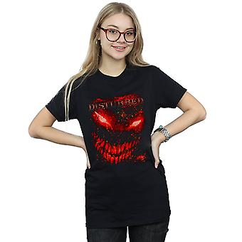 Disturbed Women's Splat Face Boyfriend Fit T-Shirt