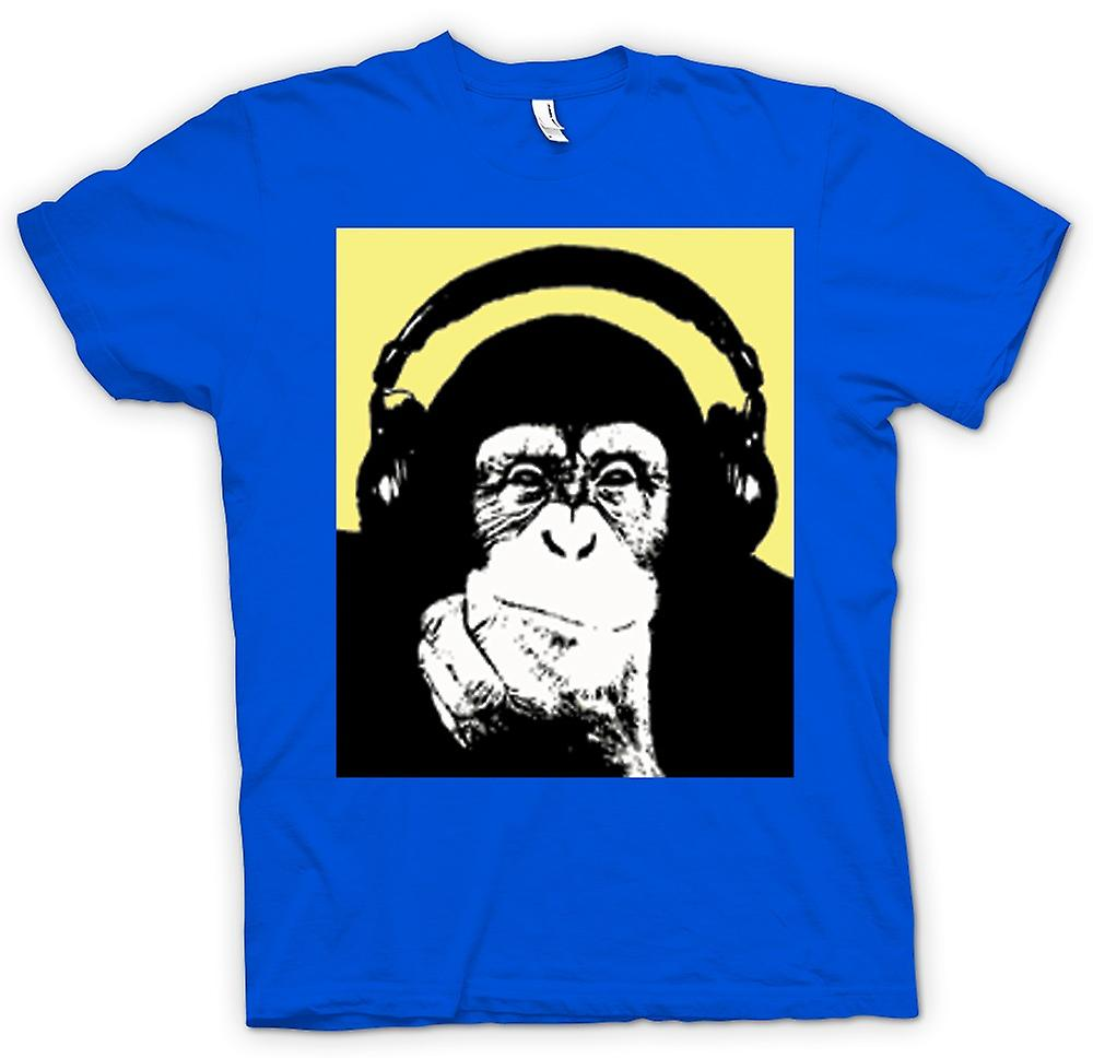 Hommes T-shirt - Chimpanzé Ape DJ With Headset
