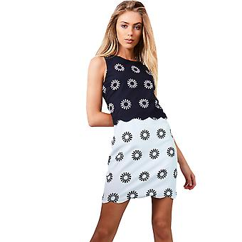 LMS Monochrome Dress With Open Back And Floral Print