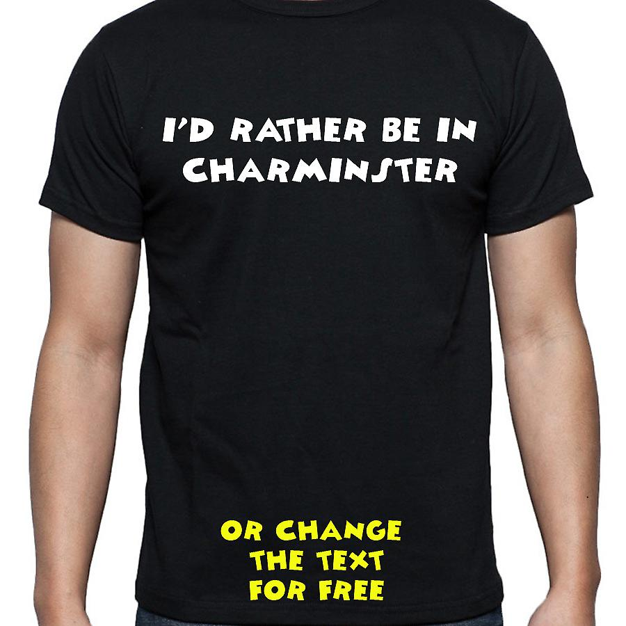 I'd Rather Be In Charminster Black Hand Printed T shirt