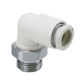 SMC Pneumatic Elbow Threaded-To-Tube Adapter, M5 X 0.8 Male, Push In 6 Mm