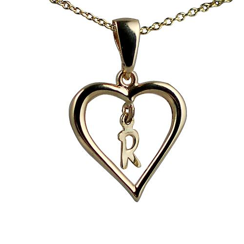 9ct Gold 18x18mm initial R in a heart with Cable link chain