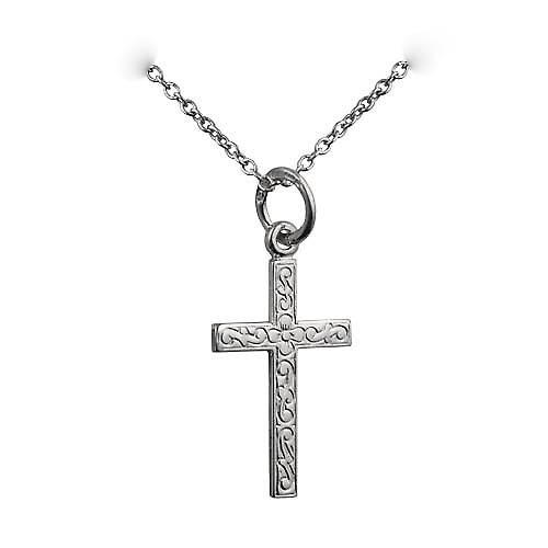Silver 18x12mm embossed latin Cross with a rolo Chain 24 inches