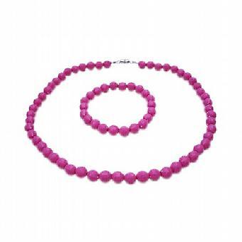 Fuchsia Beads 10mm Beads Necklae Stretchable Bracelet Christmas Gift