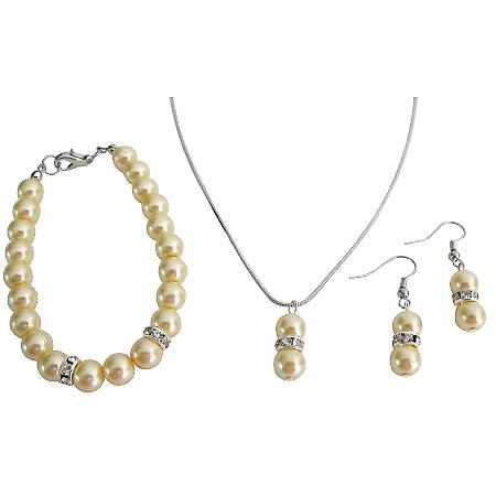 Yellow Pearl Pendant Necklace With Necklace Delicate Complete Jewelry Set