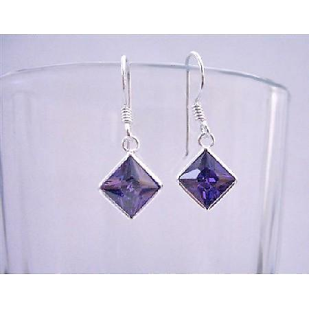 Tanzanite Cubic Zircon Diamond Shaped Sterling Silver Hook Earrings