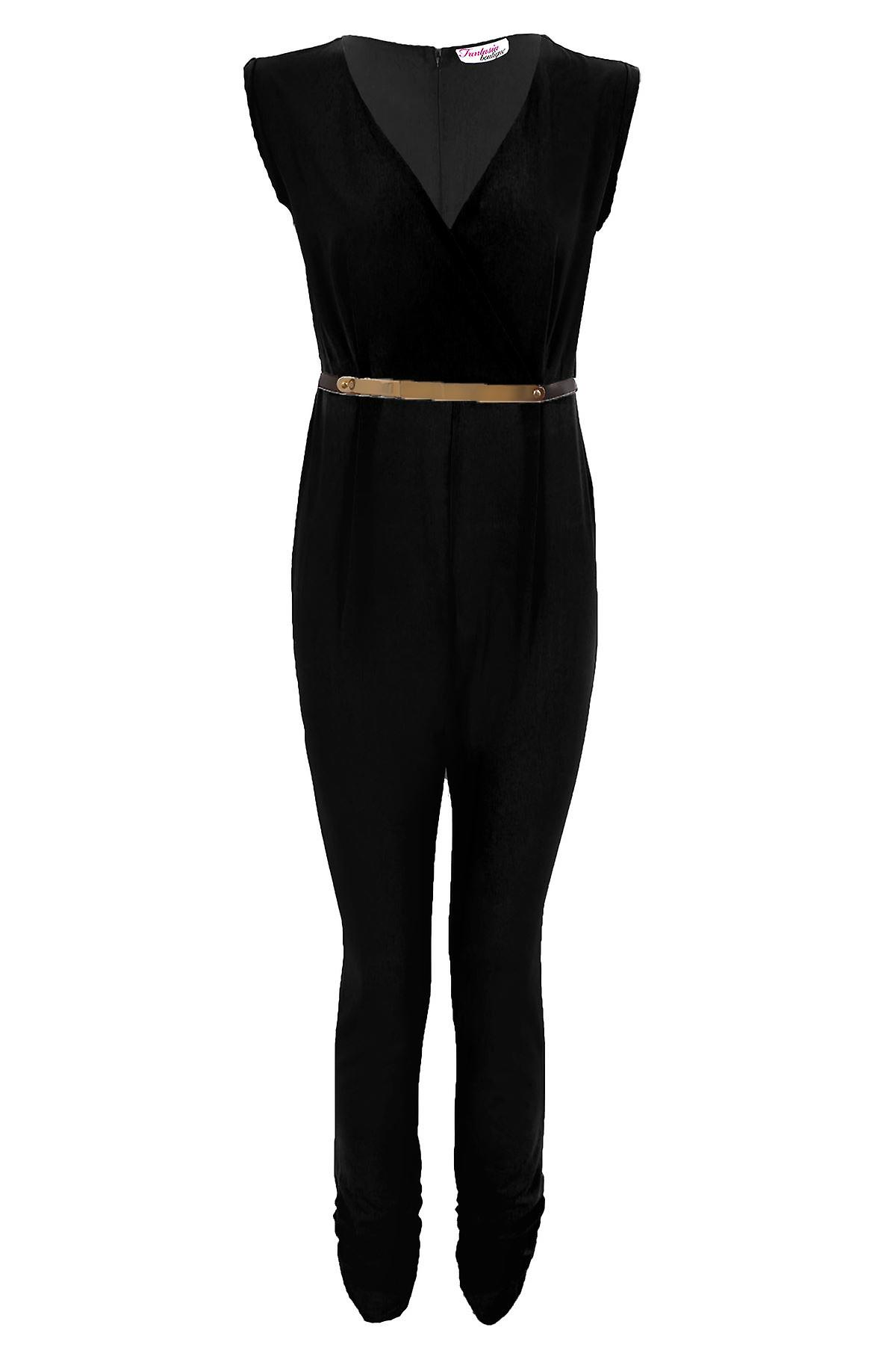 Ladies Turn Up Sleeve Low V Neck Wrap Front Belted Women's Party Jumpsuit
