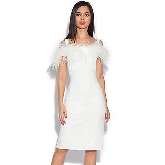 Feather Trim Bardot Dress