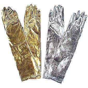 Handschuhe Ellenbogen Metallic Silber