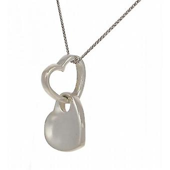 "Cavendish French Looped silver heart pendant with 16 - 18"" Silver Chain"
