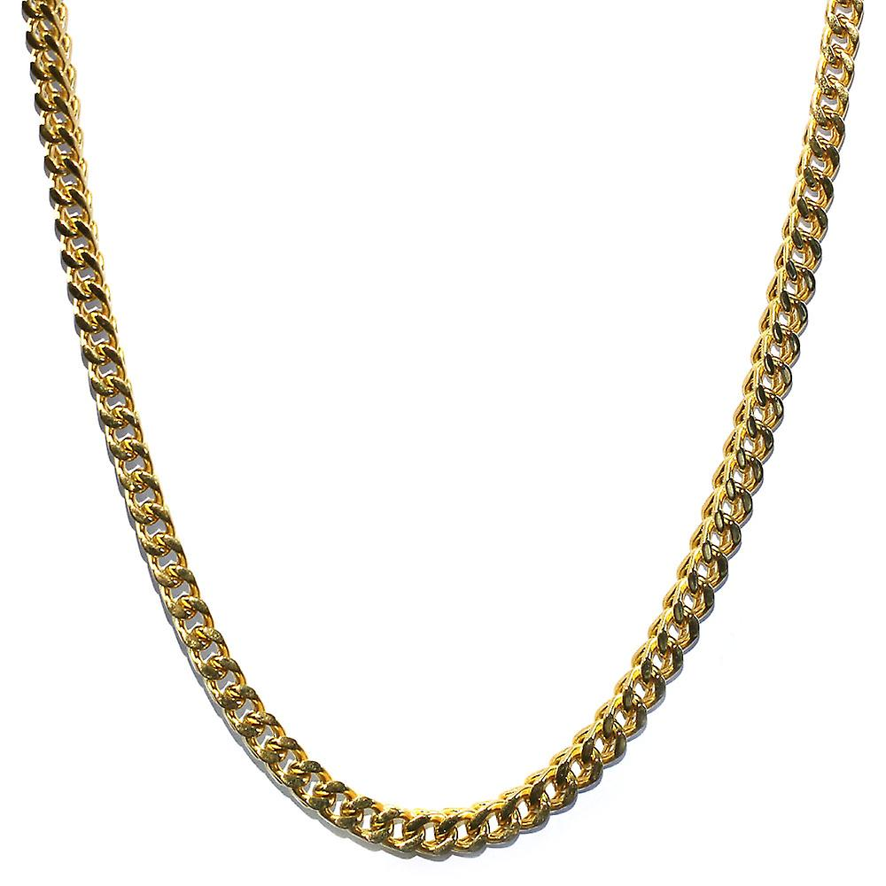18K Gold Plated Franco Box Cuban Chain 6mm - Stainless Steel