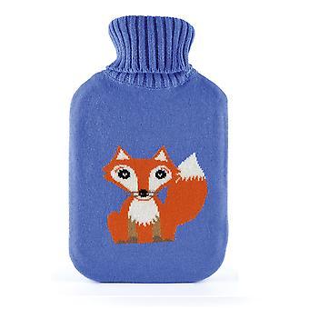 Cute Little Fox Lilac Blue Knitted 2L Hot Water Bottle