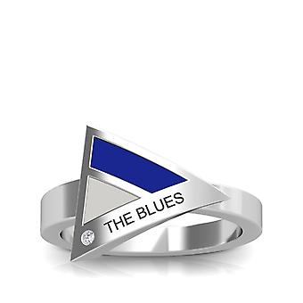 Chelsea Fc The Blues Engraved Diamond Geometric Ring In Blue And Light Grey