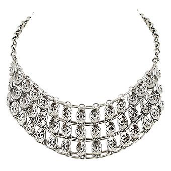 Eternal Collection Carrera Oval Chain Mail Silver Tone Fashion Necklace