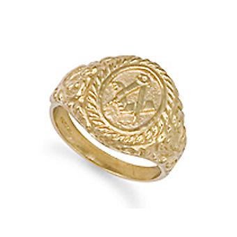 Jewelco London Men's Solid 9ct Yellow Gold Rope Edge Carved Oval Masonic Ring