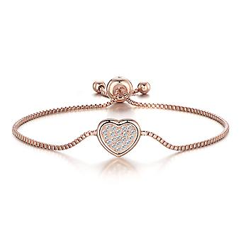 Rose gold pave heart friendship bracelet created with swarovski® crystals