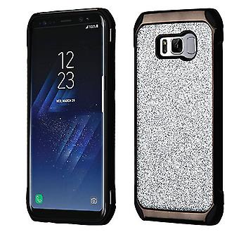 ASMYNA Silver Glitter(Black Plating)/Black Astronoot Protector Cover for Galaxy S8 Plus