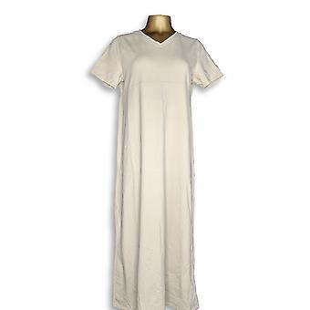 Denim & Co. Dress Short Sleeve V-Neck Empire Waist Beige A199937